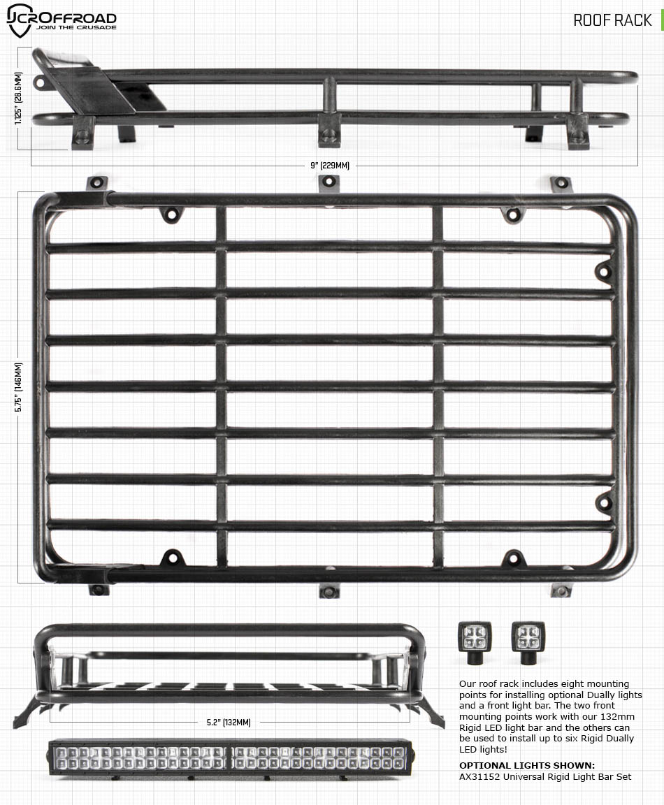 Axial Racing Scx10 Ii 2000 Jeep Cherokee 1 10th Scale Electric Rc Starter Box Wiring Diagram Roof Rack 950 2 Frame Rails